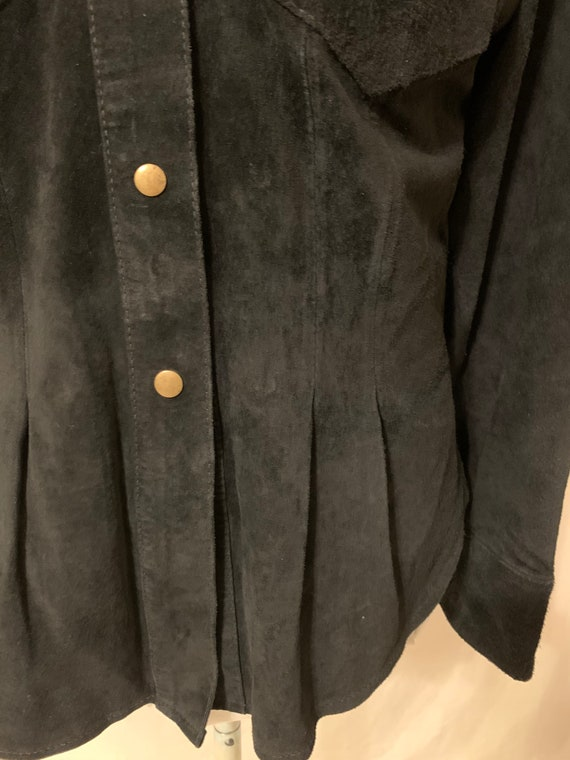 Vintage womens Leather Shirt Black Suede 80s 90s … - image 5