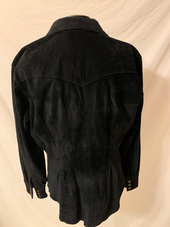 Vintage womens Leather Shirt Black Suede 80s 90s … - image 3