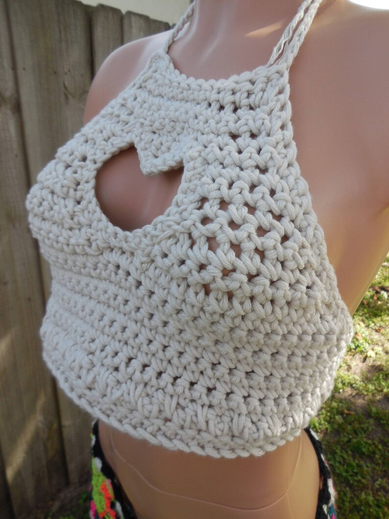 0df7f14db4 Crochet Valentine Heart Cropped Hobo Festival bikini top. | Etsy