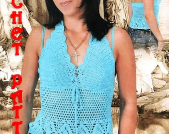 Summer  Angel Blue Crochet TOP,Pattern with Chats and written instruction.Only  in PDF files