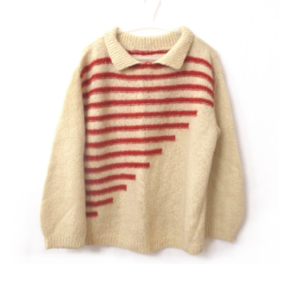 1960s Red and White Knit Large Checkered Striped Color Block Cropped Sweater