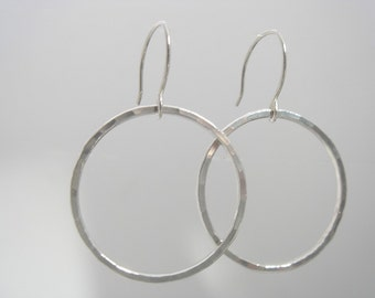 Hammered Hoop Earrings in Fine Silver