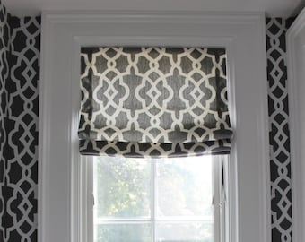 Schumacher Summer Palace Fret Roman Shades (Shown in Smoke-Comes in 4 Colors)