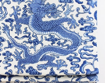 Scalamandre Chi'en Dragon Roman Shades (shown in Blue on White-comes in several colors)