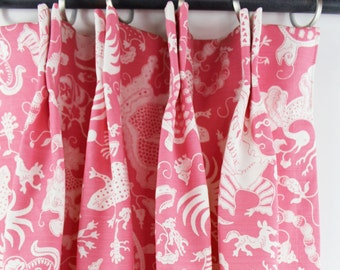 Quadrille China Seas Indramayu Reverse Dark Pink On White Custom Drapes Comes In Several Colors