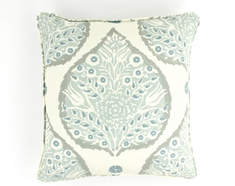 On Sale 50% Off-Galbraith & Paul Lotus Pillows in Mineral on Cream with Self Welting (Front Only-18 X 18) Made to Order. LynnChalk