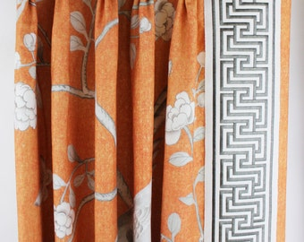 Schumacher Mary McDonald Chinois Palais Pleated Drapes with Labyrinth Tape (shown in Tangerine-comes in other colors). LynnChalk