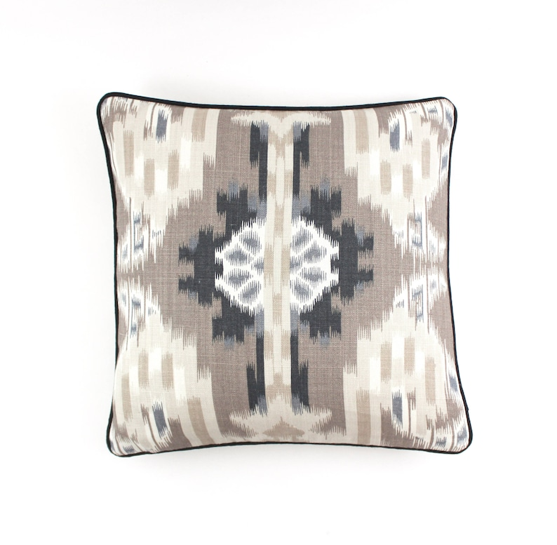 Schumacher Kiribati Ikat Custom Pillows with Welting Shown in Linen - comes in 3 colors
