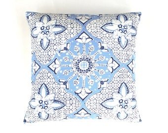 ON SALE -Quadrille New Batik French Blue Navy on White Pillow w/self welting (Front Only - 14 X 24) Made To Order