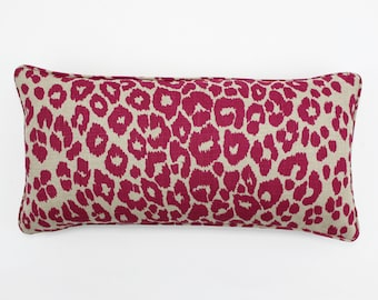 Schumacher Iconic Leopard Pillow with self welting both sides (Shown in Fuchsia/Natural - comes in 11 colors)