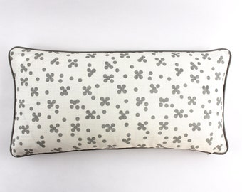 ON SALE Christopher Farr Pollen in Smoke Pillows with Grey Linen Welting (Both Sides - 12 X 24)