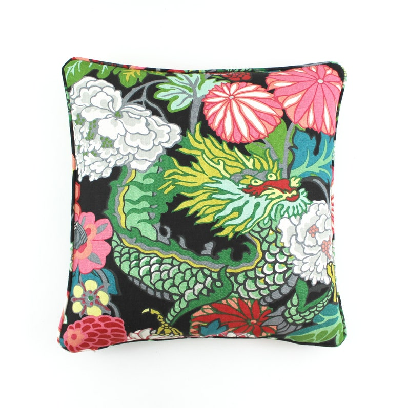 On Sale 60 Off Schumacher Chiang Mai Dragon Pillow In Ebony Etsy