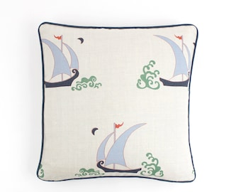 Katie Ridder Beetlecat Pillows with contrasting welting (shown in Lavender Blue with Navy Welting)