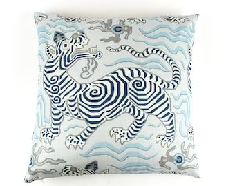 ON SALE - Clarence House Tibet Blues 20 X 20 Pillow Cover with or without welting (Front Only - Made To Order)