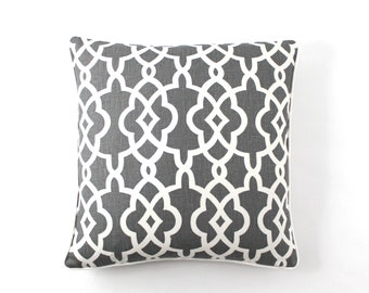"ON SALE Schumacher Summer Palace Fret Pillow in Smoke with Off White Linen Welting (Both Sides-20"" X 20"")"