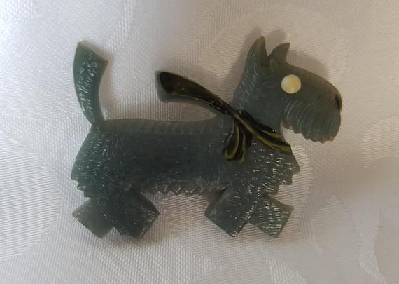 Celluloid Scottie Dog Brooch, Vintage Scottie Dog