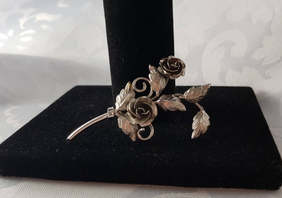 Sterling Silver Rose Brooch, Rose Brooch, Silver … - image 2