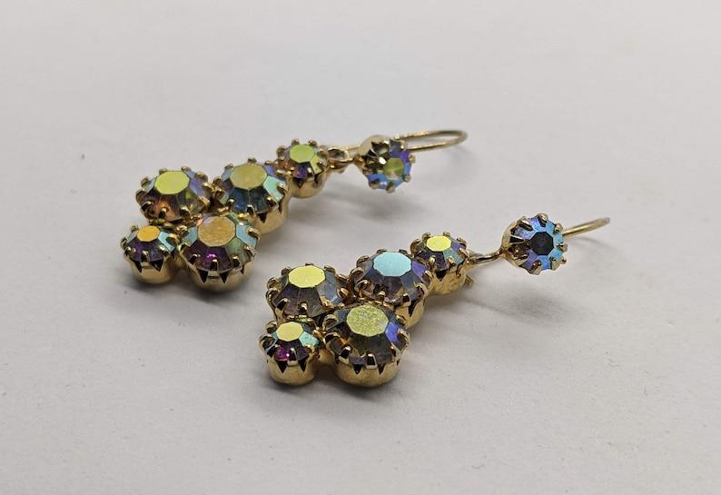 Vintage Champagne Aurora Borealis Dangle Earrings Pierced Ears 1.3 Inches Long