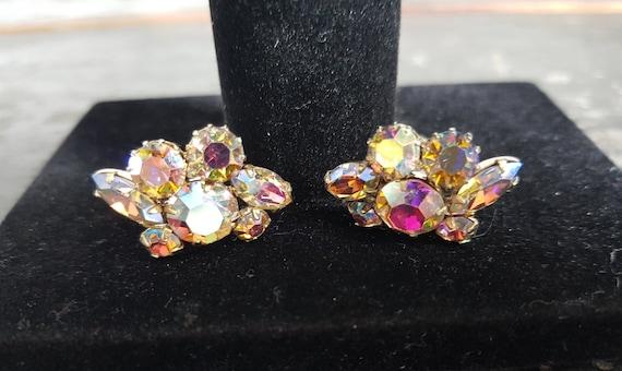 Vintage Sherman Pink Crystal Earrings Screw On, Pi