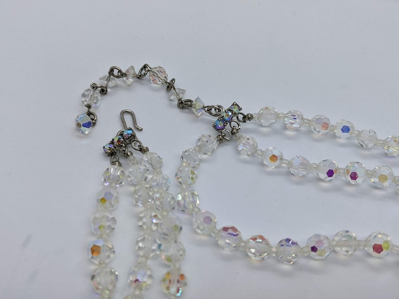 Vintage Triple Strand Aurora Borealis Choker With Hook Clasp 15 Inches