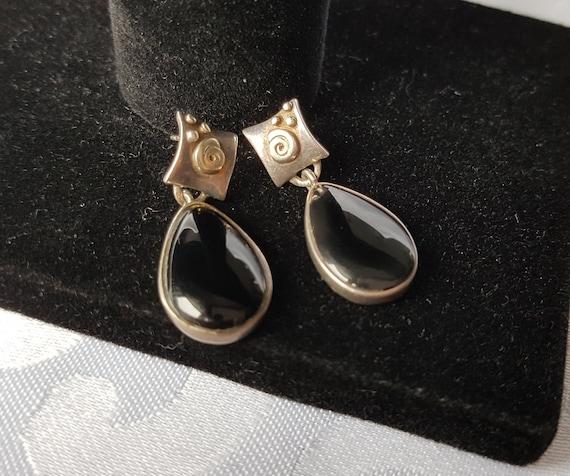 Black Onyx Earrings  Sterling Silver Earrings  Vintage Earrings Item#EE123
