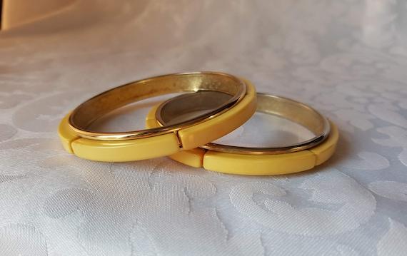 Yellow Bakelite Metal Bracelets, Creamed Corn Bake