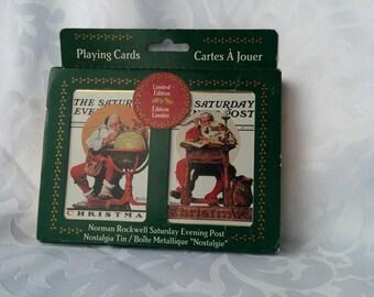 Cartes à jouer vintages scellé Norman Rockwell Santa - ouvert