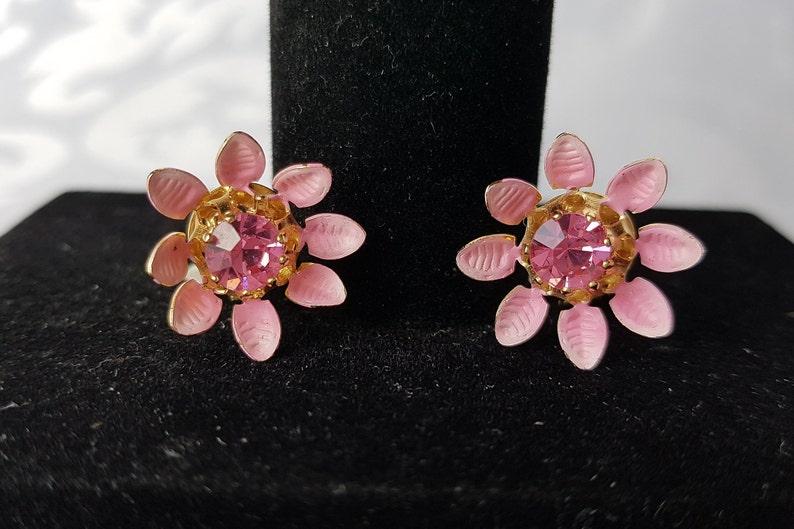 Earrings Vintage Marked Austrian Crystal Clip On Flower Earrings Clip On Earrings Earrings Pink Austrian Crystal Earrings Clip On