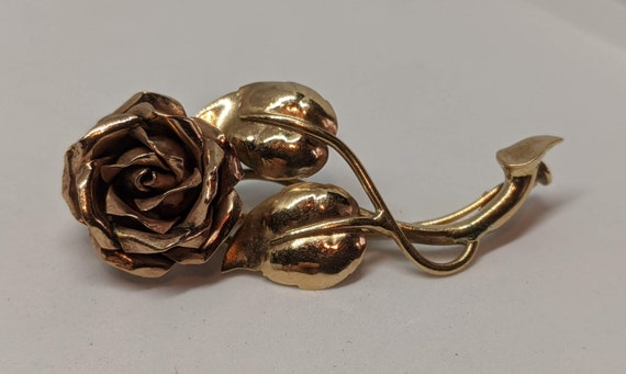 VIntage 10K Yellow and Rose Gold Floral Brooch Ro… - image 3