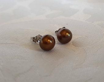 Bronze Cultured Pearl Earrings, Genuine Bronze Pearl and Sterling Silver Earrings, Brown Pearl Earrings, Pearls, Earrings
