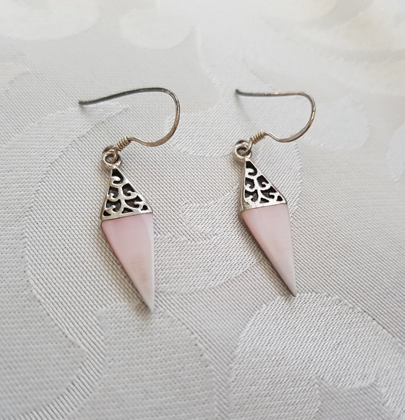 a569c960fa69a Sterling Silver Pink Mother of Pearl Earrings, Sterling Pink MOP Earrings,  Mother of Pearl Earrings, Pink Earrings, Sterling Silver Earrings