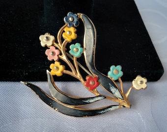 Vintage Hand Painted Floral Brooch, Flower Brooch, Hand Painted Brooch, Floral Brooch, Brooch