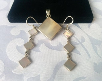 Mother of Pearl Sterling Pendant and Earrings, MOP Sterling Silver Earrings and Pendant, Mother of Pearl 925 Earrings and Pendant