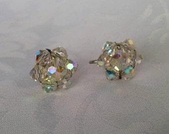 Aurora Borealis Screw on Earrings, Crystal Earrings, Screw on Crystal Earrings