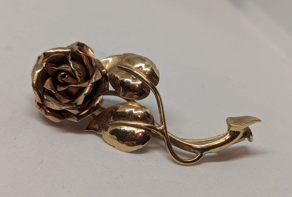 VIntage 10K Yellow and Rose Gold Floral Brooch Ro… - image 2