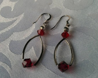 Sterling Earrings with Ruby Red Crystal Beads, Sterling Dangle Earrings, Sterling Earrings, Red Crystal Earrings