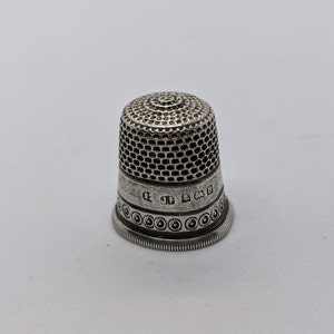 Antique German Guilloche Enamel Sterling Silver Thimble Decorative Thimble Sewing Collectible Haberdashery