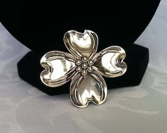 Beau Sterling Dogwood Flower Brooch, Sterling Silver Flower Brooch, Dogwood, Beau Sterling Silver