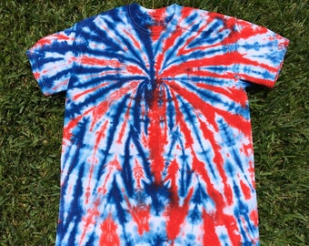 6b34b34d Adult Medium Red White and Blue Tie Dye Shirt, Patriotic Tie Dye, 4th of  July Shirt, Fireworks Shirt, Spider Tie Dye, Spiderman Tie Dye,