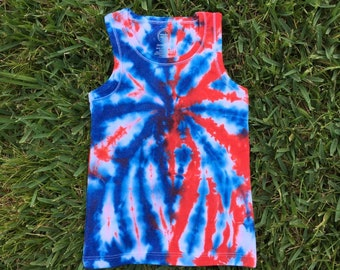 7c0fdff5 Girls XS 4/5 Red White and Blue Tie Dye Tank Top, Patriotic Tie Dye Tank  Top, Fireworks Tie Dye, Spider Design, Spiderman, 4th of July