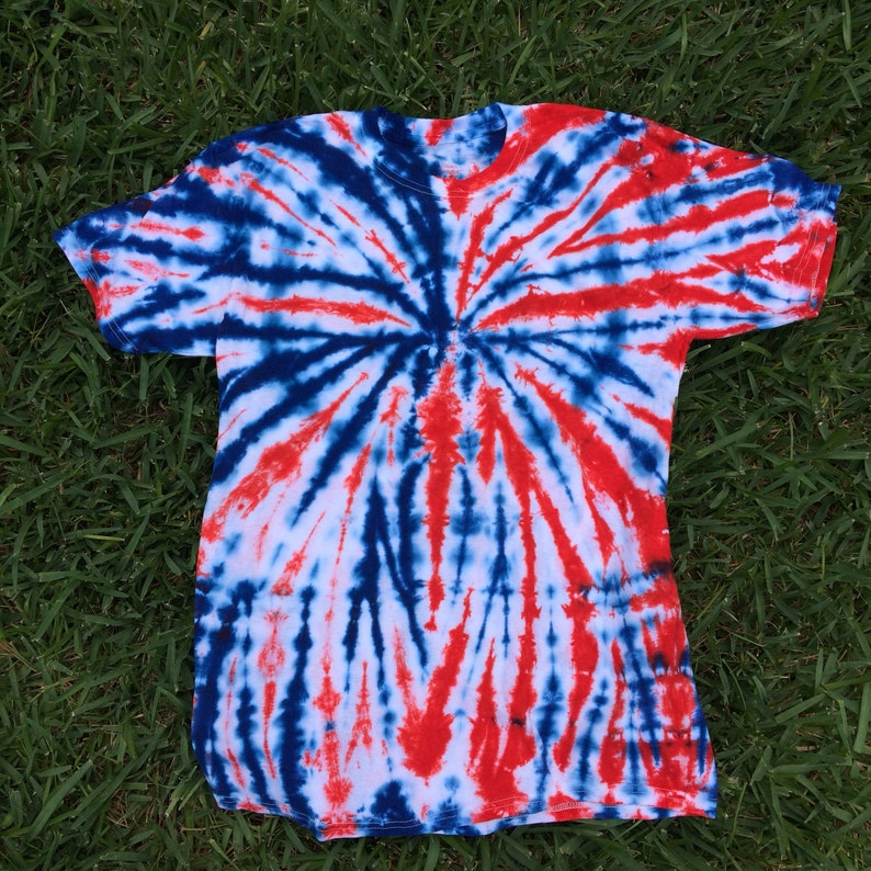 4f4d0abf Adult Medium Red White and Blue Tie Dye shirt Patriotic Tie   Etsy