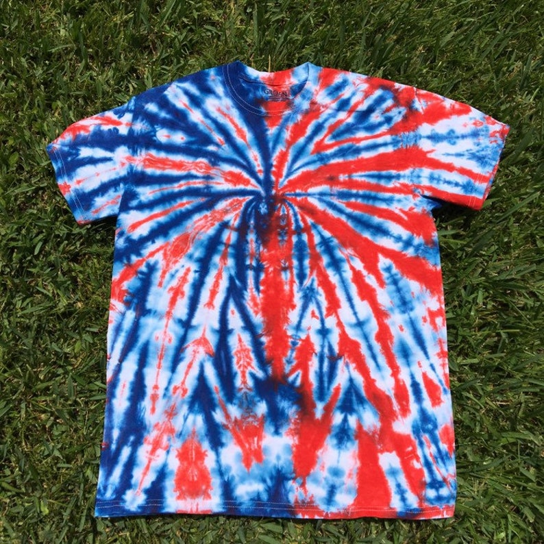727498ad Adult Medium Red White and Blue Tie Dye Shirt Patriotic Tie image 0 ...