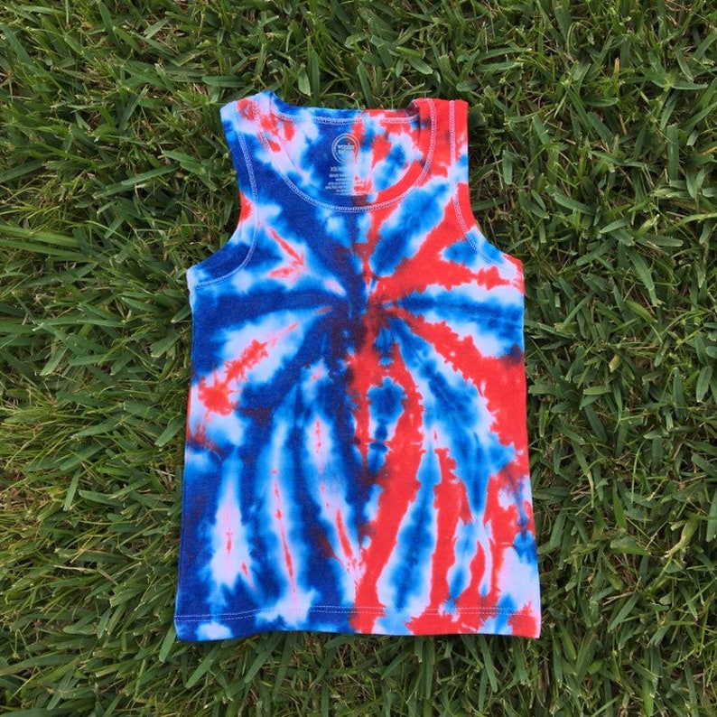 8896b329 Girls XS 4/5 Red White and Blue Tie Dye Tank Top Patriotic   Etsy