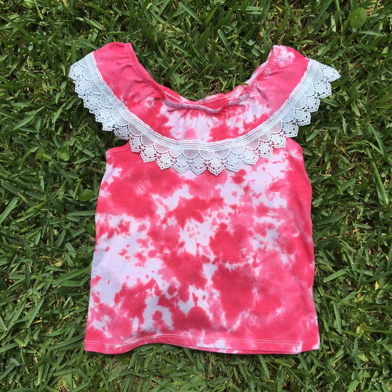 Hot Pink Tie Dye Girls Size Medium 78 Hot Pink and Hot Hibiscus Tie Dye Crochet Ruffle Top Ruffle Top Magenta Tie Dye Shirt