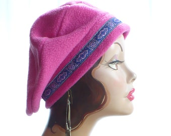 Hot Pink Beret (lightweight) with Tapestry Trim 46e4f2fcf0f