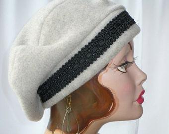 350821de91dea Oatmeal Heather Polar Fleece Beret with Black Rayon Beadette Trim
