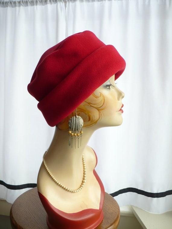 Berry Red Pillbox Lid Bucket Hat  33b69444acf