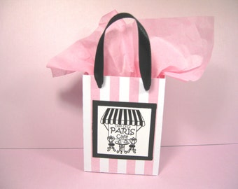 66959ef3ea40 10 Paris Cafe Favor Bags - Pink Black - Ooh La La Party Favor Bags - Pink  White Stripe Favor Bags - Small Shopping Bags - Paris Gift Bags