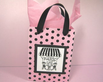 97d26f38fcd8 10 Paris Cafe Favor Bags - Ooh La La Party Favor Bags - Pink and Black  Polka Dot Favor Bags - Small Shopping Bags - Paris Gift Bags