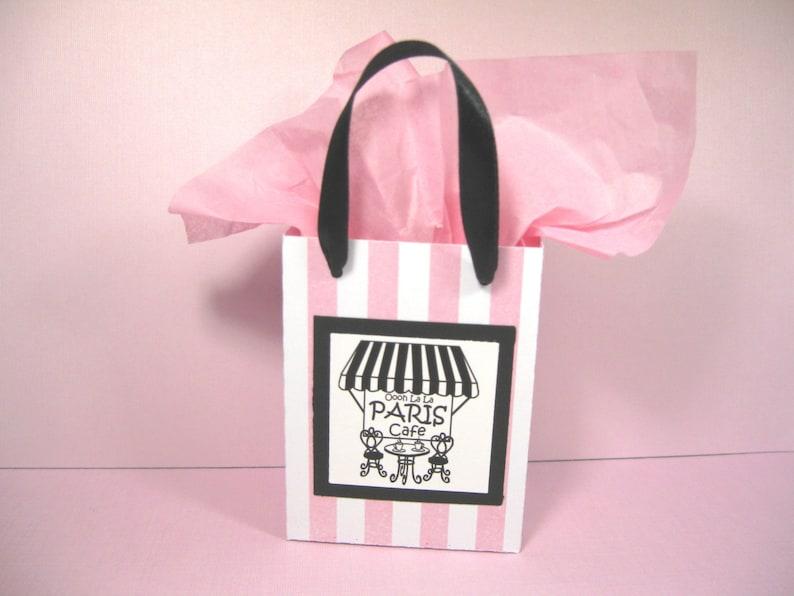 Ooh La La Party Favor Bags Paris Gift Bags Pink Black Pink White Stripe Favor Bags 10 Paris Cafe Favor Bags Small Shopping Bags